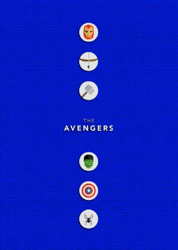 2010's Movie - THE AVENGERS MINIMALIST BLUE canvas print - self adhesive poster - photo print
